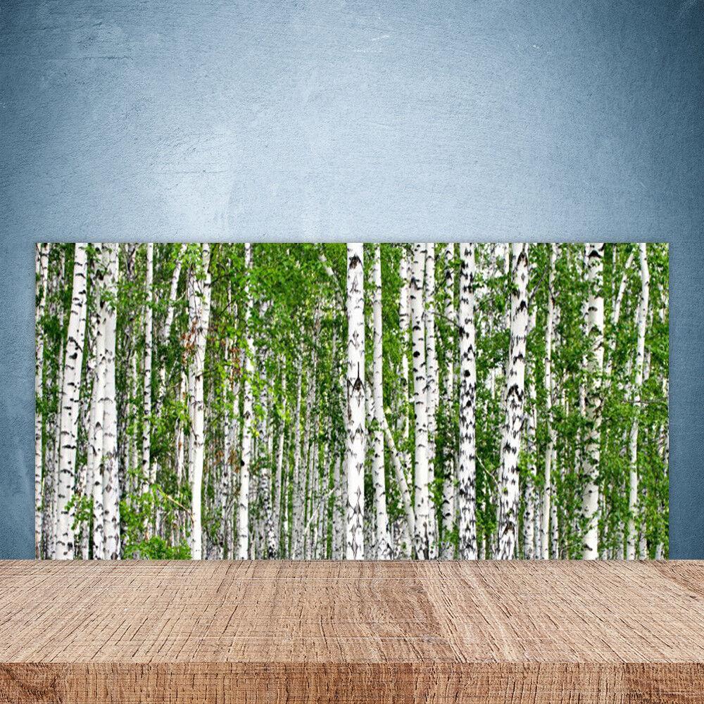 Crédence de cuisine en verre Panneau Paroi 100x50 Nature Bouleau Forêt Arbres