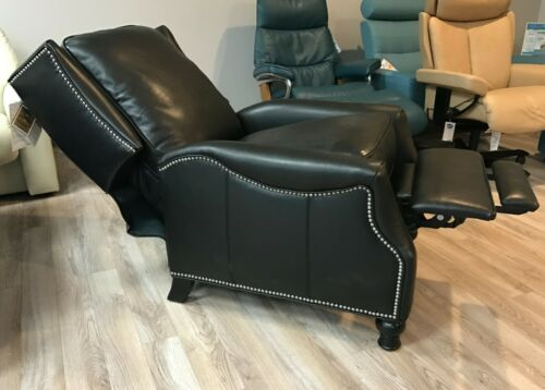Barcalounger Ashton II Genuine Leather Recliner Lounger Chair Pearlized Black