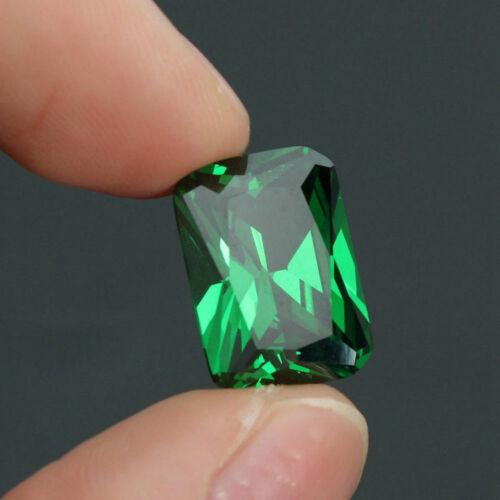 Sin calefacción deslumbrante 9.08ct Verde Zafiro 10X14MM Diamante Esmeralda Piedra Suelta