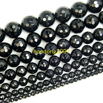 "4/6/8/10/12/14/16mm Natural Faceted Black Agate Round Loose Beads 15"" Choose"