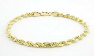 10k-Yellow-Gold-Real-3mm-Mens-Womens-Diamond-Cut-Rope-Chain-Link-Bracelet-8in-8-034