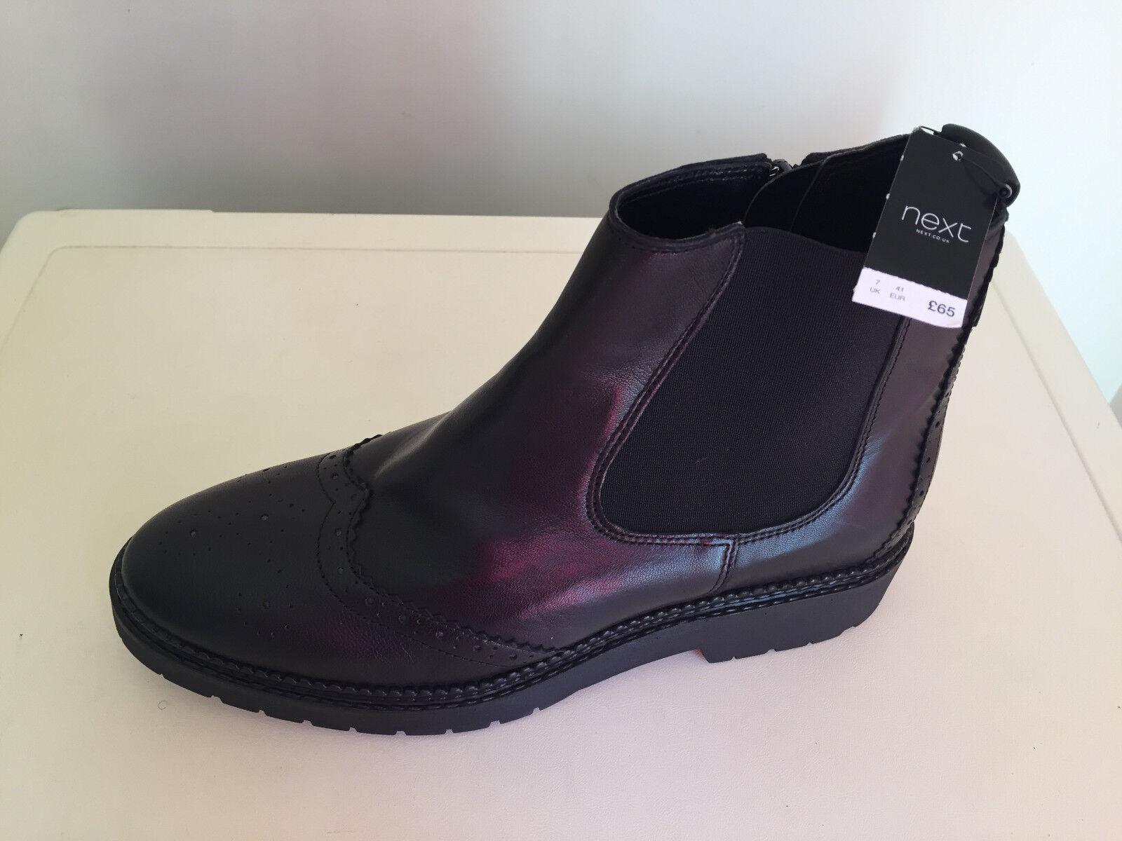 Next Women Black Leather Bnkle Boots UK 7 BNWT
