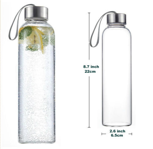 500ml Glass Beverage Water Bottle Bottle BPA-Free Portable Sports Bottle Water Leak-Proof 02ea7d