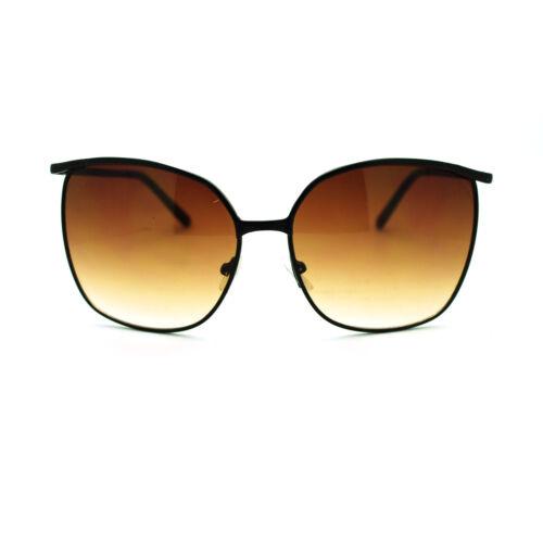 Womens Thin Metal Oversized Rectangular Retro Horn Rim Design Fashion Sunglasses