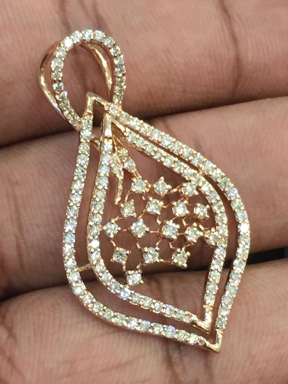 Pave 1.48 Cts Round Brilliant Cut Natural Diamonds Pendant In Fine 14K pink gold