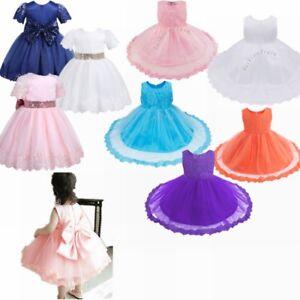 1d4f2f271 AU Newborn Kids Baby Girls Princess Floral Lace Dress Party Pageant ...