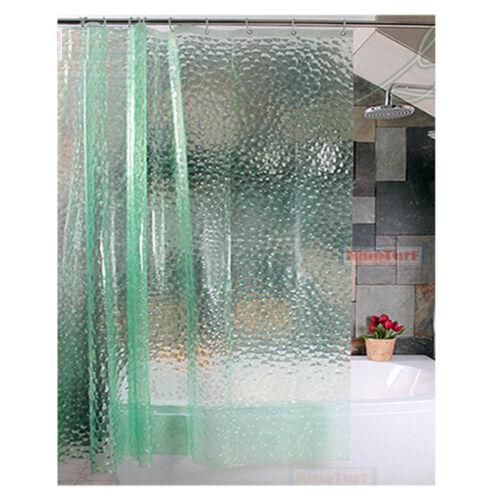 3D Transparent Waterproof Bathroom PEVA Plain Shower Curtain With Hooks Ring