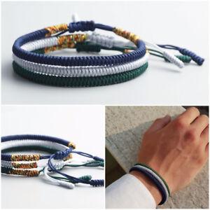 Bracciale-uomo-set-braccialetti-in-corda-Tibetano-bracciali-Buddista-blu-verde