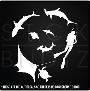 Shark Tank Scuba Diver Fishing Boat Funny Cute Decal