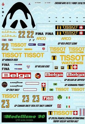 Modellismo 90 1//43 Decal sheet Ensign MN177 F.1 Ford 1978 Works Version NEW