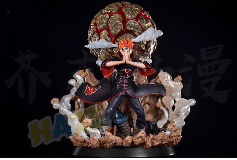 Naruto Akatsuki Pain Pein Painted PVC Figura de acción estatua con luz LED 38cm