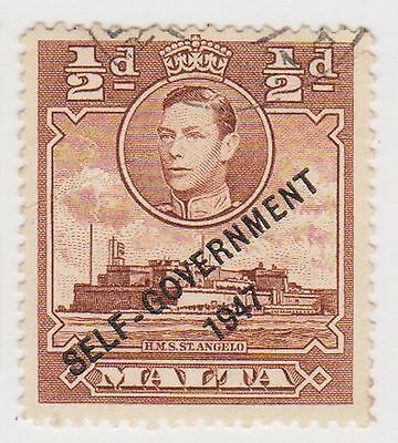 1948 Malta ½d Brown Kgvi Self Government c gbg61