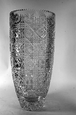Hand Cut Crystal Vase Artist Signed Large Turkish Glass Sawtooth Rim