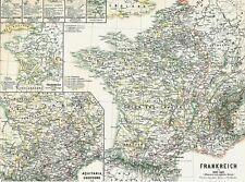 Alte Landkarte FRANKREICH Krieg gegen England Jungfrau von Orléans 1876