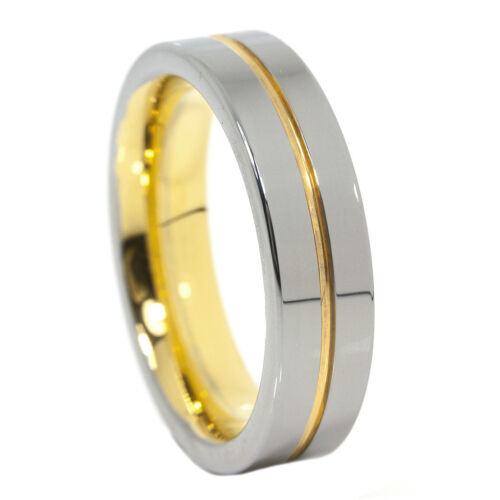 Gold Line Ring 6mm Tungsten Carbide Pipe-Cut 18K Yellow Dispatch Band 9 /& 10