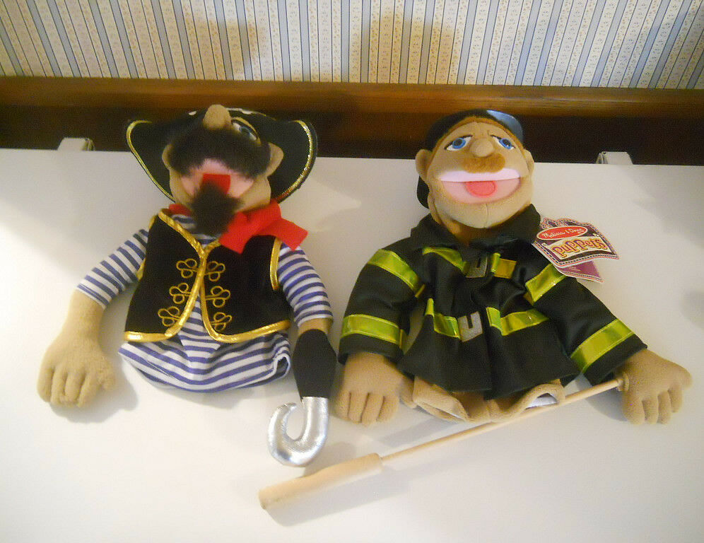 Melissa & Doug plush 15  Puppets Pirate & Fire Fighter with wood pole pointer