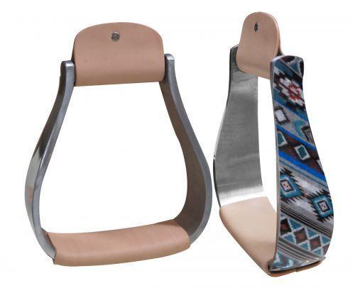 Showman 5.5  Lightweight Aluminum Holographic Navajo Print Western Stirrups