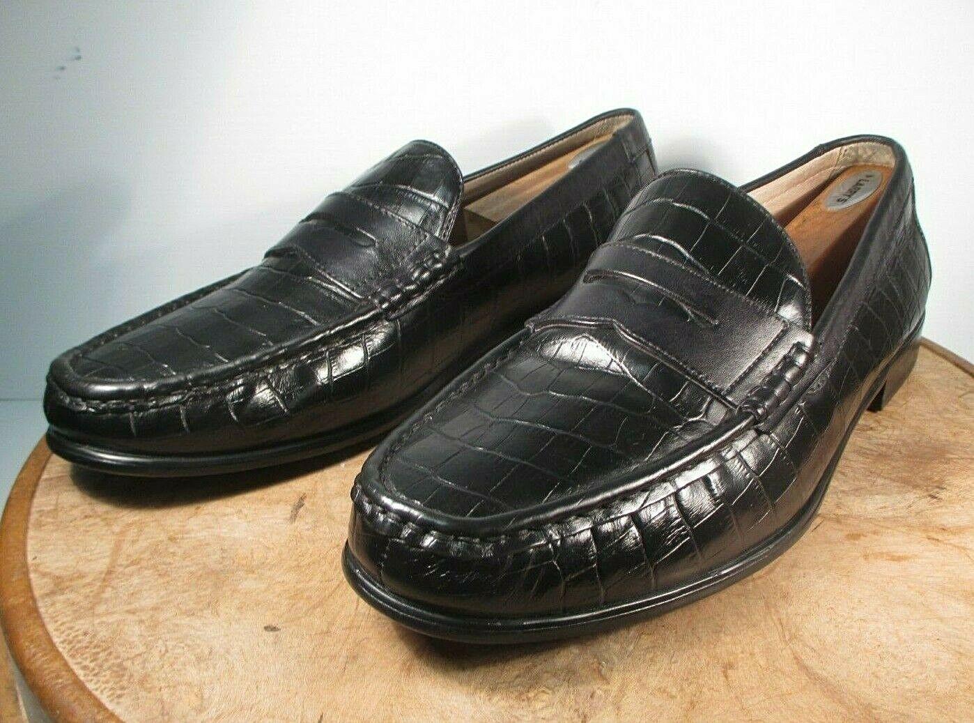 Domani Ballard Black Leather Crocodile Print Penny Loafers size 13 M