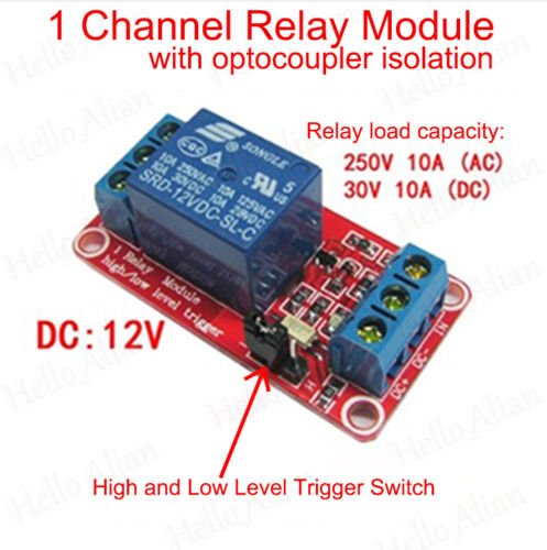 DC5V~24V 1CH Relay Module with Optocoupler H//L High Level Trigger for Arduino