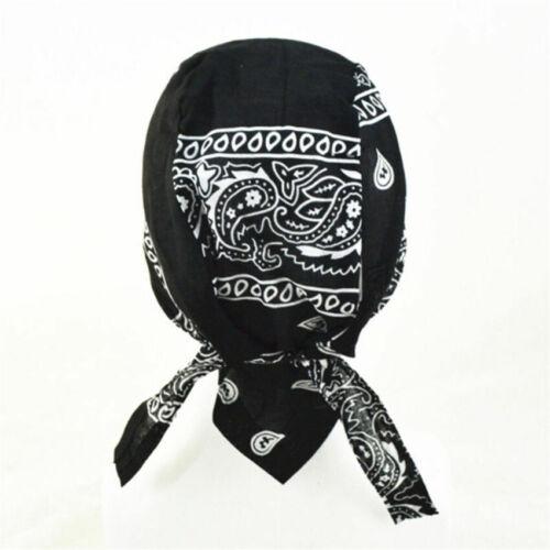 1pc Cotton Biker SKULL CAP Motorcycle Bandana Head Wrap Du Doo Do Rag Black Hat