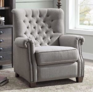 Charmant Details About Gray Tufted Push Back Recliner Armchair Recliners Nailhead  Arm Chair Chairs Grey