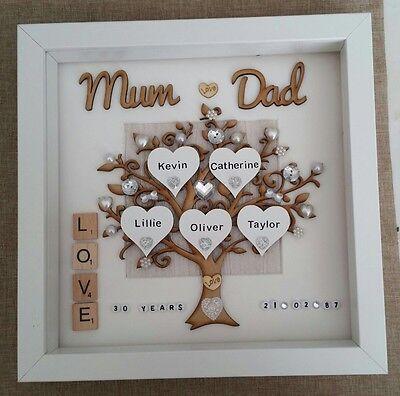 30th Wedding Anniversary Gift.Personalised Handmade Pearl 30th Wedding Anniversary Gift Frame Mum Dad Ebay