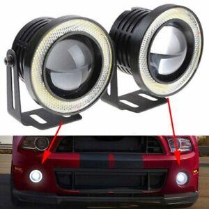 Auto-White-1200LM-LED-Angel-Eyes-COB-Fog-Light-Car-Lamps-Halo-Ring-DRL-Lamp-HOT