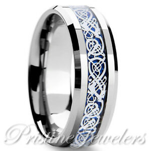 Tungsten-Carbide-Ring-Silver-Celtic-Dragon-Blue-Carbon-Fiber-Band-Men-039-s-Jewelry