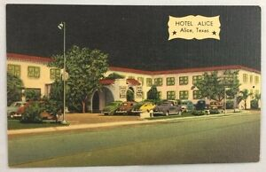 Image Is Loading 1940s Color Litho Scarce Linen Postcard Hotel Alice