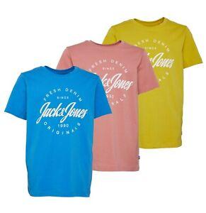 Garcons-Jack-et-Jones-Manches-Courtes-Haut-Jersey-T-Shirt-Tailles-Age-De-7-To-16-ans