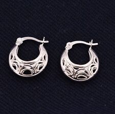 Textured Puffed Plain Huggie Hoop Earrings 14K White Gold Clad Real Silver 925