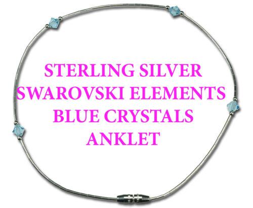 Sterling Silver BLUE Swarovski parts Element Crystal Liquid Silver Anklet 9.5''