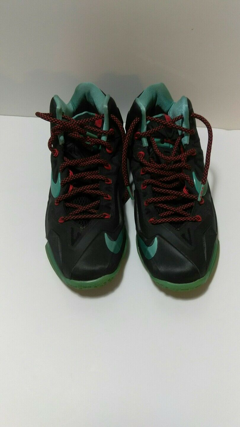 NIKE LEBRON XI 11 BLACK DIFFUSED JADE LIGHT CRIMSON 616175-004 MENS size 8
