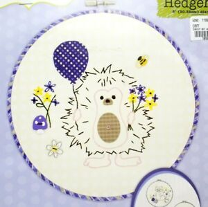 Beginner-Stamped-Embroidery-Applique-Hedgehog-Kit-Hoop-Included-New