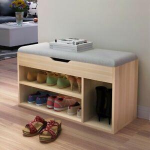 eb295d8982 2 Tier Wood Shoe Storage Rack Bench Shelf Soft Seat Stool Organizer ...