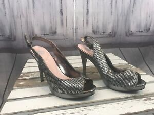 Crown-Silver-Sparkle-Heels-Formal-Prom-Homecoming-Dress-Up-4-Inch-Size-8