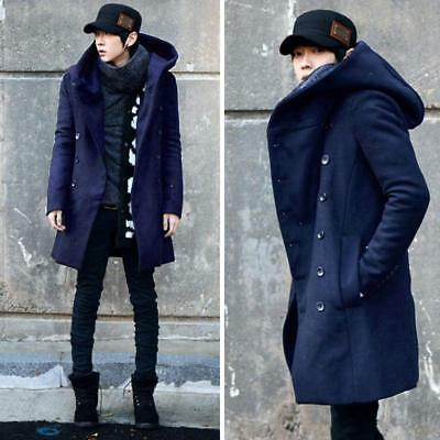 promo code b2273 ffccf Mens Korean Fashion Long Double Breasted Jacket Hooded Winter Warm Parka  Coat | eBay