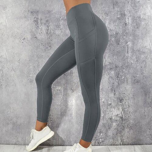 Women High Waist Gym Leggings Pocket Fitness Sports Running Train Yoga Pants UK!