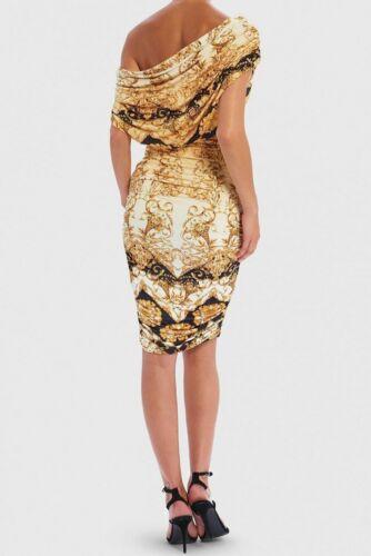 Forever Unique Stormi Baroque Print One-Shoulder Bodycon Midi Dress Gold//Black