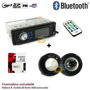 KIT-AUTORADIO-BLUETOOTH-MP3-AUX-STEREO-COPPIA-CASSE-400W-16-CM-PEN-DRIVE-8GB