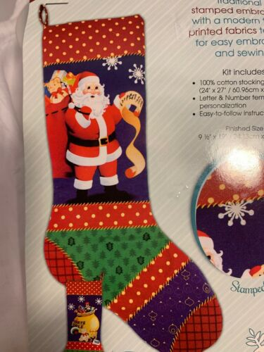 NEW Needle Creations Stamped Embroidery SANTA Christmas STOCKING Panel Kit