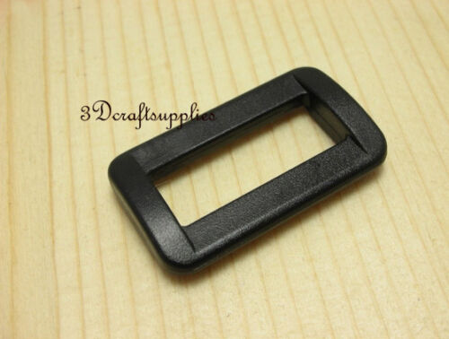 Rectangle Rings webbing Belt buckle plastic black 25 mm 1 inch 20 pcs E12