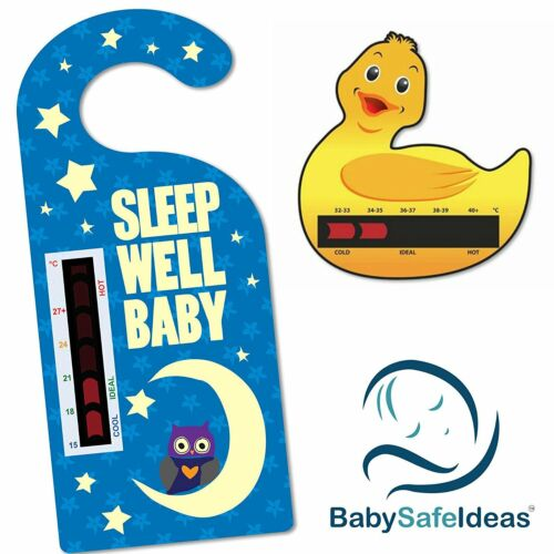 Duck Bath Thermometer Card Sleep Well Baby Nursery Room Thermometer Hanger