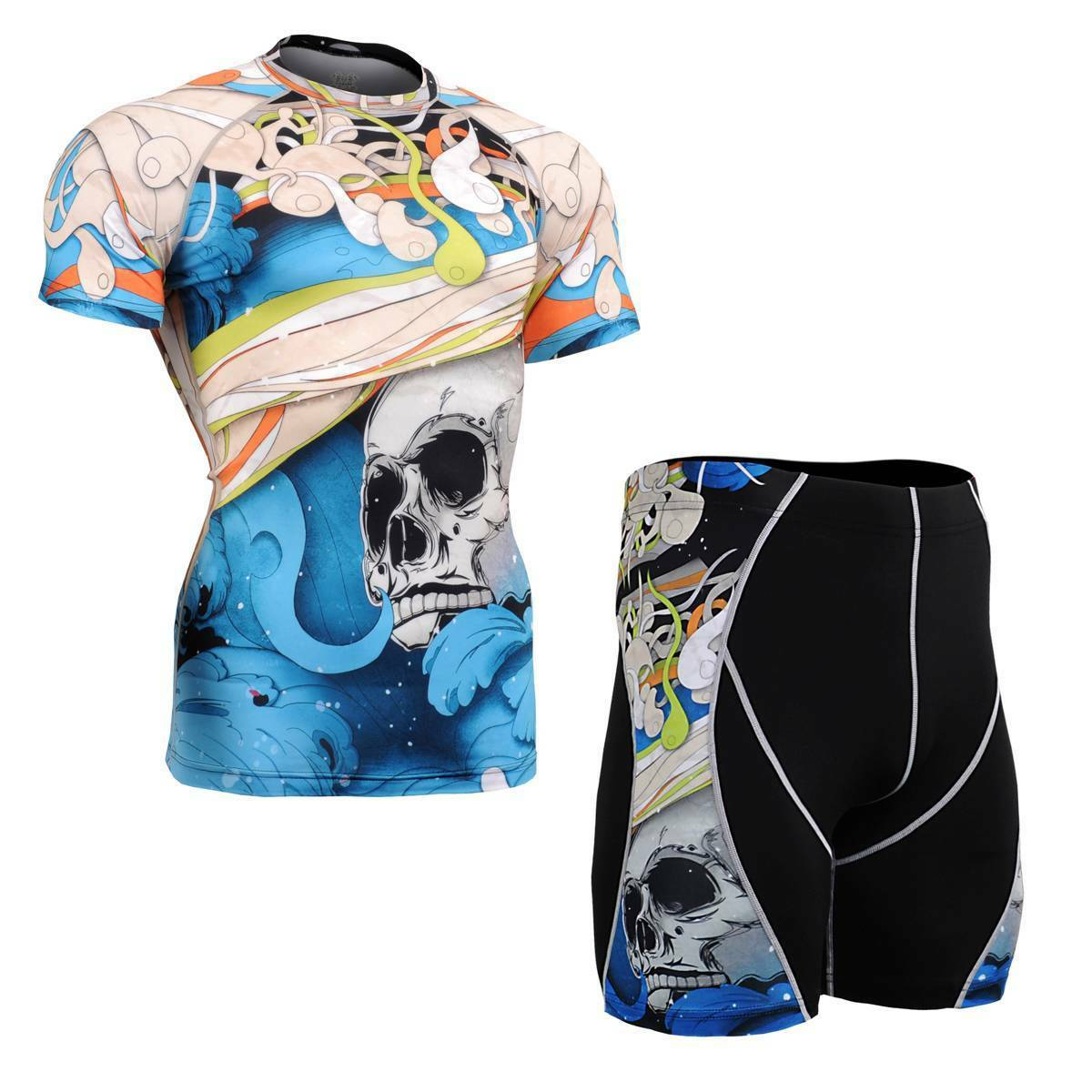 FIXGEAR CFS P2S-B19B SET Compression Shirts & Pants Skin Tights MMA Training Gym