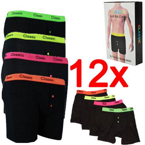 12 x Boîte Neon Classic Homme Designer boxers Tronc sous-vêtements coton culotte