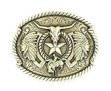 Nocona Western Mens Belt Buckle Oval Skull Star Silver 37944