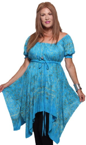 LotusTraders Plus Sizes V923 Peasant Gauzy Batik Boho Art Fashion Blouse