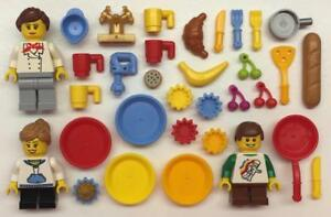 city town restaurant servers waiters cooks baker hat 4 Lego Chefs Minifigs Lot