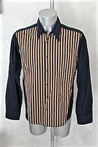lujosa-camisa-marina-de-rayas-HUGO-BOSS-NARANJA-talla-L-EXCELENTE-ESTADO