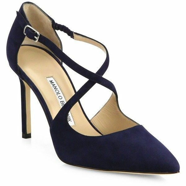 NEW Manolo Blahnik UMICE Suede Crisscross Pumps Navy BB Heels shoes 41.5